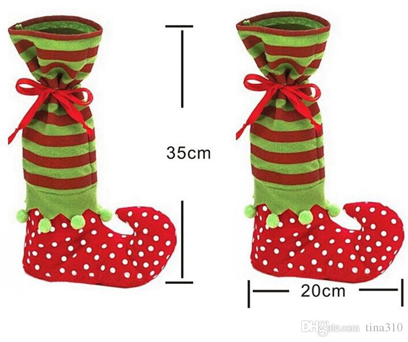 Favorable Festival Xmas Decoration Supplies Super Funny Christmas Gift Bag Boot Shaped Christmas Candy Chocolate Bag 35*20cm IC830