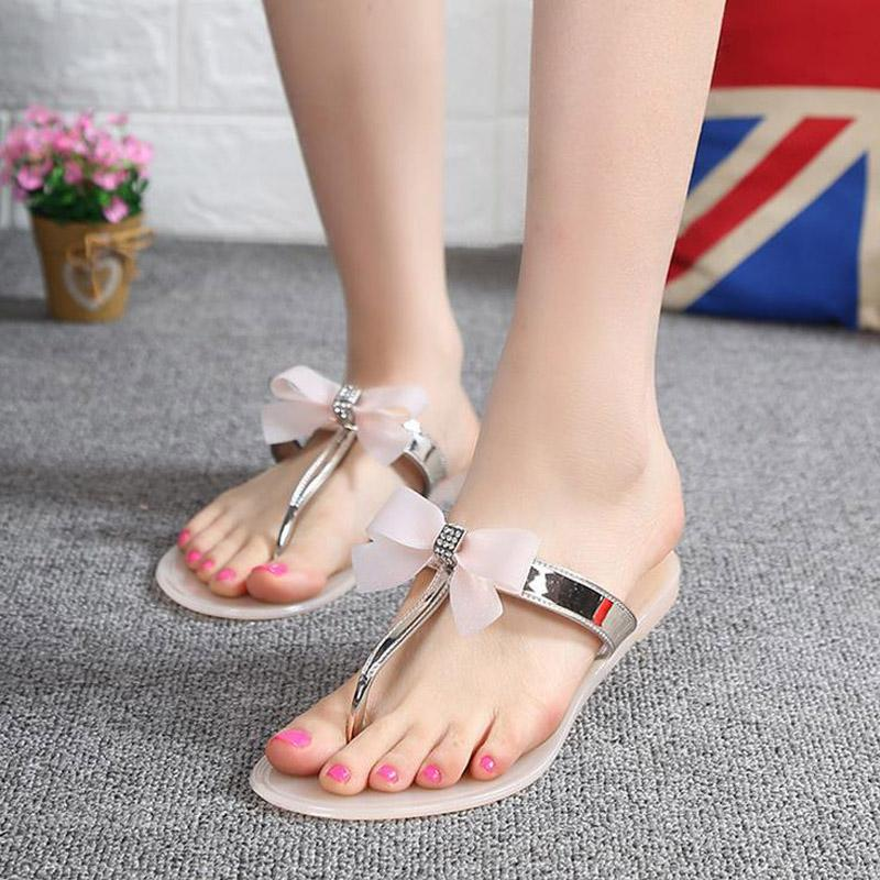Shes Women 2017 New Summer Women Flip Flops Slippers Flat Sandals Bow Rivet Fashion Pvc Crystal Beach Shoes Ladies Summe Slides