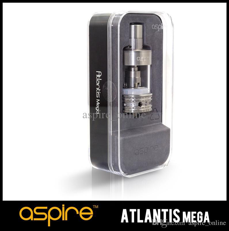 Auténtico Aspire Atlantis MEGA Tank con 1.0oHm0.3ohm Bobina de alambre Sistema de enfriamiento de flujo de aire ajustable de algodón orgánico 5ML Mega Atomizer Ecig