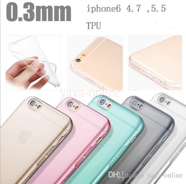 0.3mm ultra ince şeffaf telefon kılıfları TPU görünmez koruyucu kabuk iphone 6 4.7 artı 5.5 6 renkler mümkün mix sipariş
