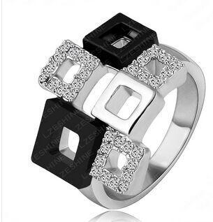 LZESHINE Marca de Moda Anéis De Cristal Único Real 18 K Banhado A Ouro de Cristal Austríaco SWA Elemento Quadrado Anel Ri-HQ1114-C