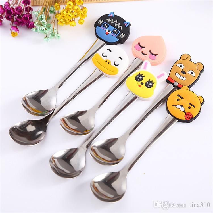 Nouvelle vente chaude en acier inoxydable vaisselle de dessin animé en forme d'animal enfants cuillère à soupe café cuillère en remuant IA952