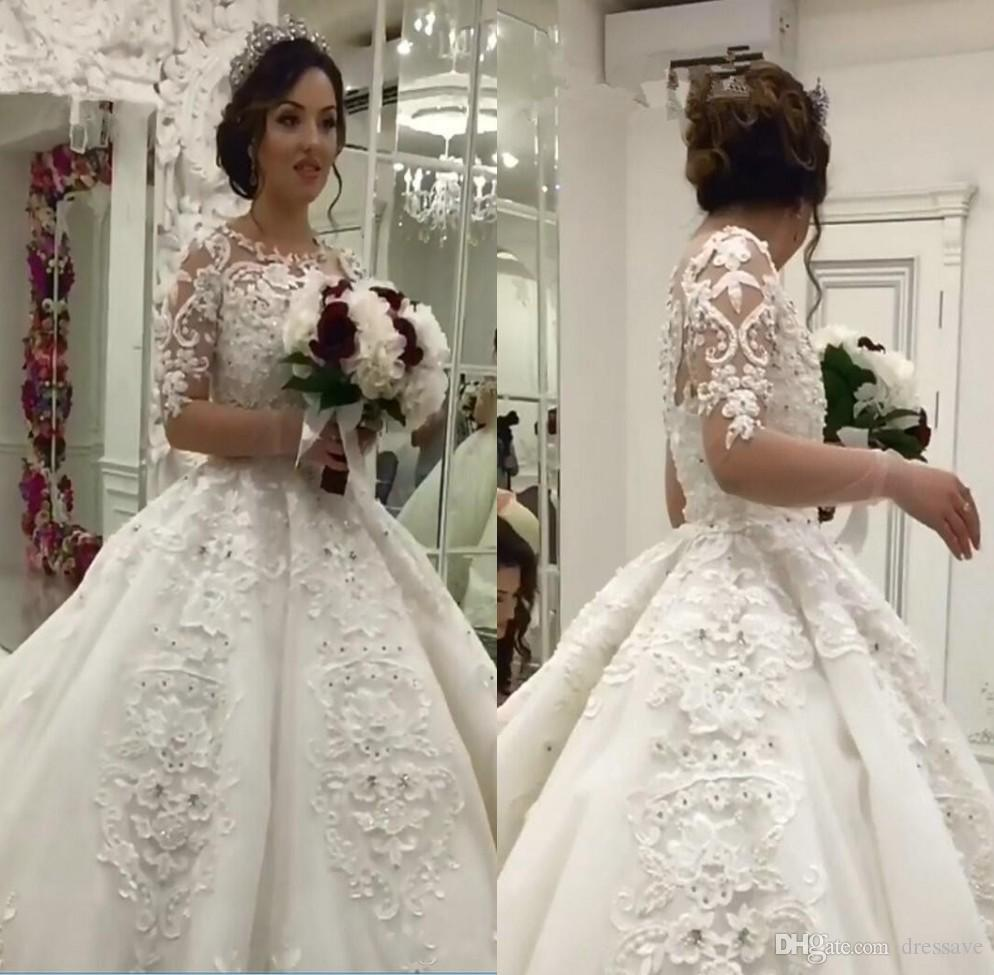 793230e0f756 Discount 2018 Ball Gown Boho Wedding Dresses Arabic Vintage Luxury Pearls  Lace Appliques Long Sleeve Muslim Bridal Gowns Vestidos De Noiva Affordable  ...