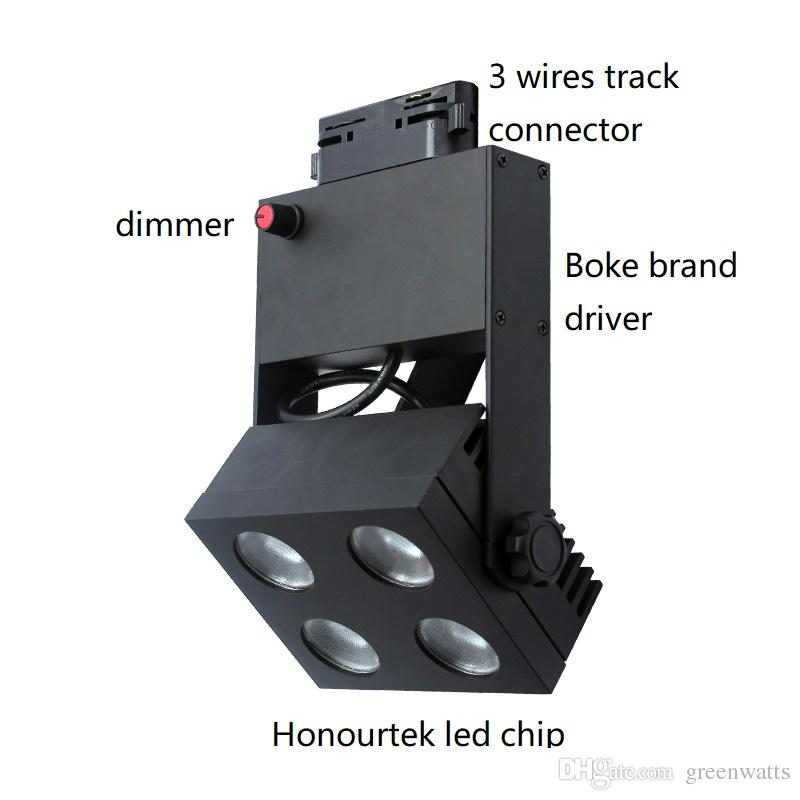 20W / 30W COB cuadrada que sigue la luz 1-10V dimmable 3 alambres 3000K / 4000K / 5000K / 6000K luz de la pista