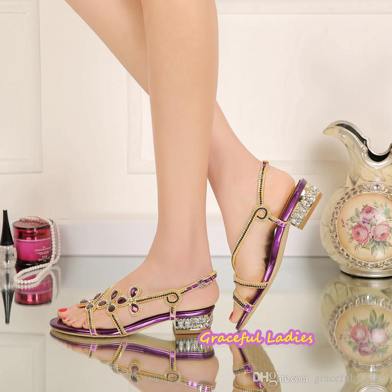 Purple Rhinestones Wedding Shoes Low Heel 2.5cm Slingbacks Square Heel Bridal Sandals Women US size 11 Evening Party Shoes 2016 New Arrival