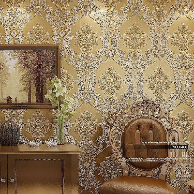 Luxury Classic Wall Paper Home Decor Background Damask Wallpaper Golden Floral Wallcovering 3d Velvet Living Room Free Hd