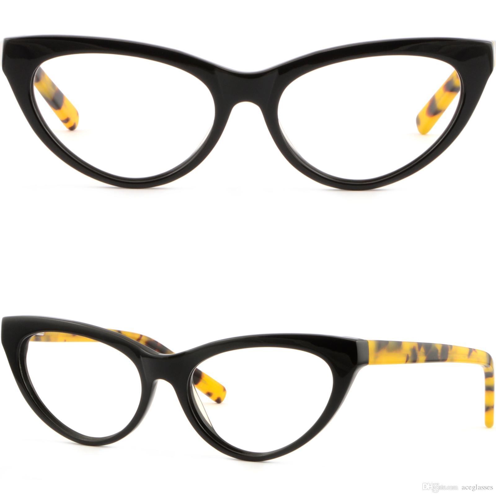 10622eba2e Compre Acetato Plástico Cat Eye Mujeres Cateye Black Frame Gafas Graduadas  Spring Arm A $20.26 Del Aceglasses | DHgate.Com