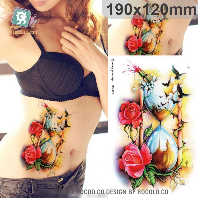 f3d177671 Wholesale Beautiful Waterproof Temporary Tattoos For Men Women 3D Rose Bird  Funnel Design Large Tattoo Sticker MC2727 Custom Printed Temporary Tattoos  ...
