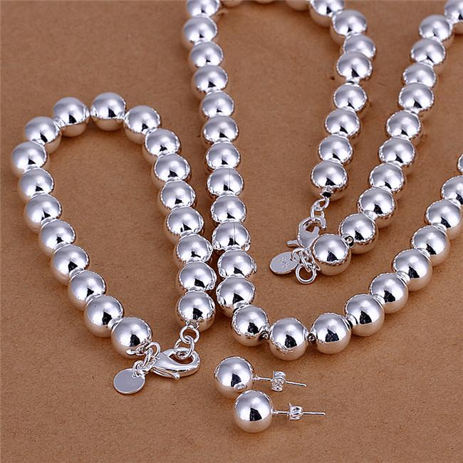 S082 Factory Price 925 sterling silver plated 10MM prayer beads necklace & bracelet & earrings Fashion Jewelry Set wedding gift for woman