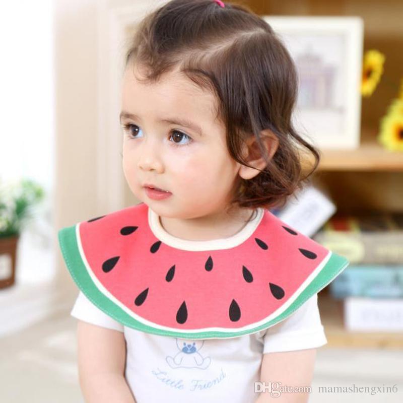 New Five layer circular round waterproof bib new 360-degree multi-color bib infant fruit printed cotton bibs burp clothes