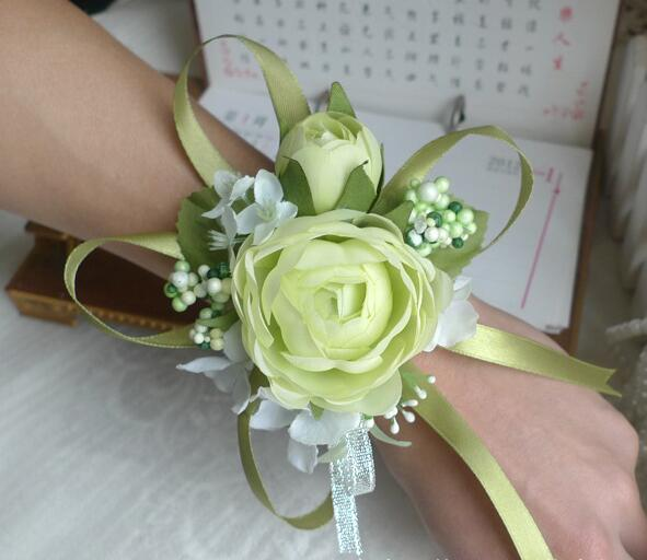 Grosshandel Rot Weiss Lila Rosa Blau Hochzeit Handgelenk Blume