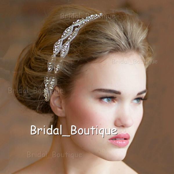 Free Shipping Hair Accessory Rhinestone Bridal Headbands Crystal Ribbon Prom  Party Hairwear Headpiece ab47482fed9