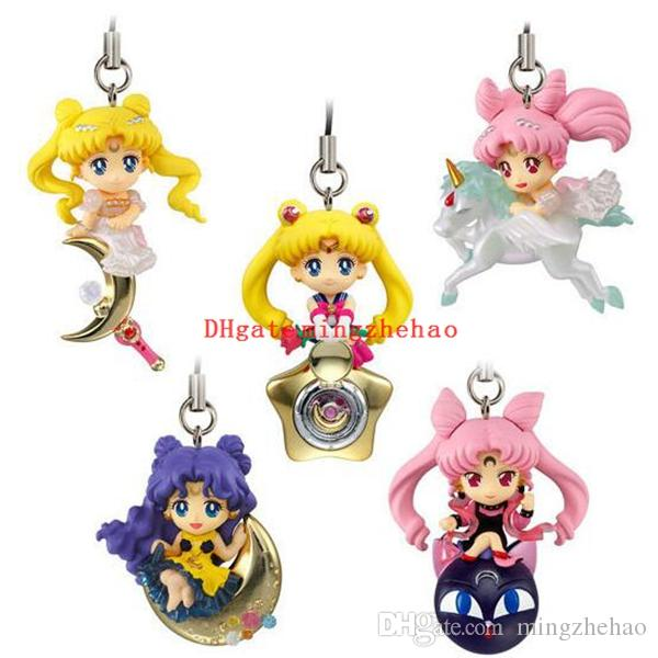 Sailor Moon Figure Toy Model Dolls Toys With Keychain Pendant Phone Strap 3~5cm Great Gift