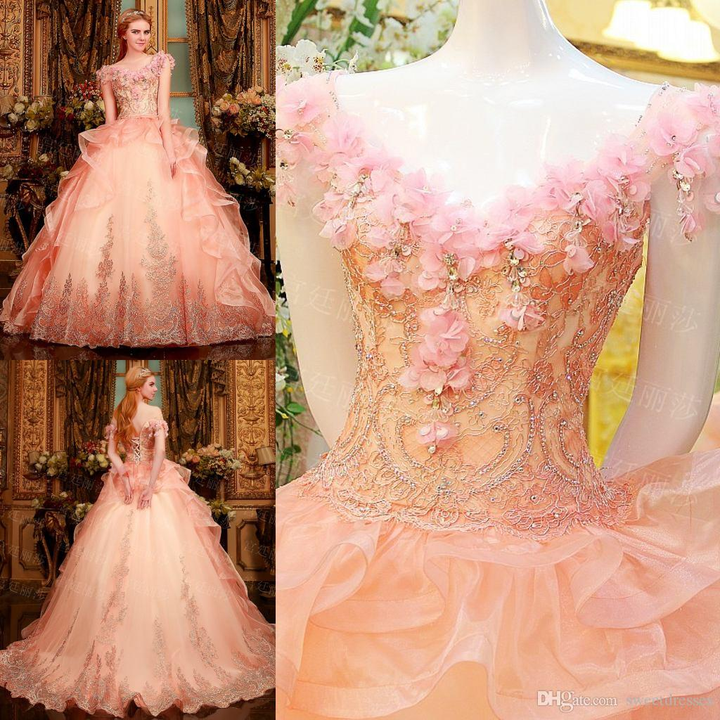 2015 Quinceanera Dresses Puffy Ball Gown Off Shoulder V Neck Floor ...