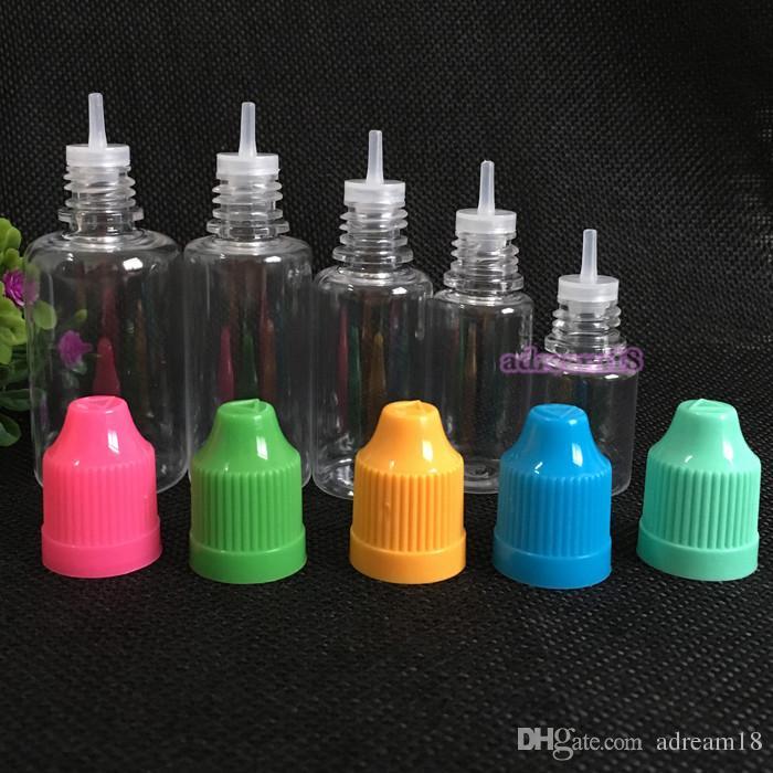 PET 5 ml 10 ml 15 ml 20 ml 30 ml garrafas ejuice de plástico com tampa de segurança frascos conta-gotas vazios para o líquido e garrafa e-CIG 5/10/15/20 / 30ml