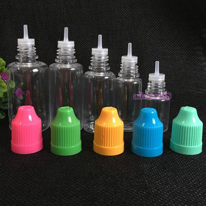 PROMOTION Qualitäts-Plastik eLiquid Flasche 5ml 10ml 15ml 20ml 30ml PET Child Proof Flaschen lang und dünn Tipps leere Flaschen Freies DHL