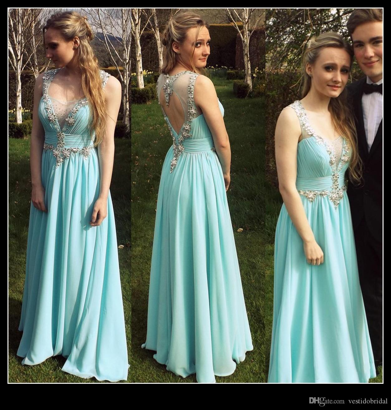 Actual Image Light Blue Prom Dresses Party 2015 Sexy Sheer Crew Neck ...