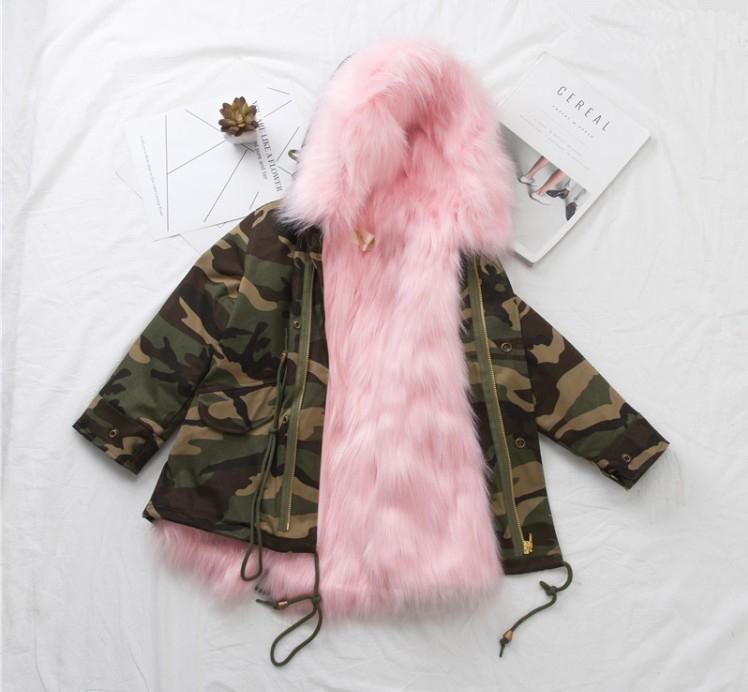 1b47efe42e8f Boys Girls Fur Coat Parkas Winter Big Fur Collar Kids Camuflage ...