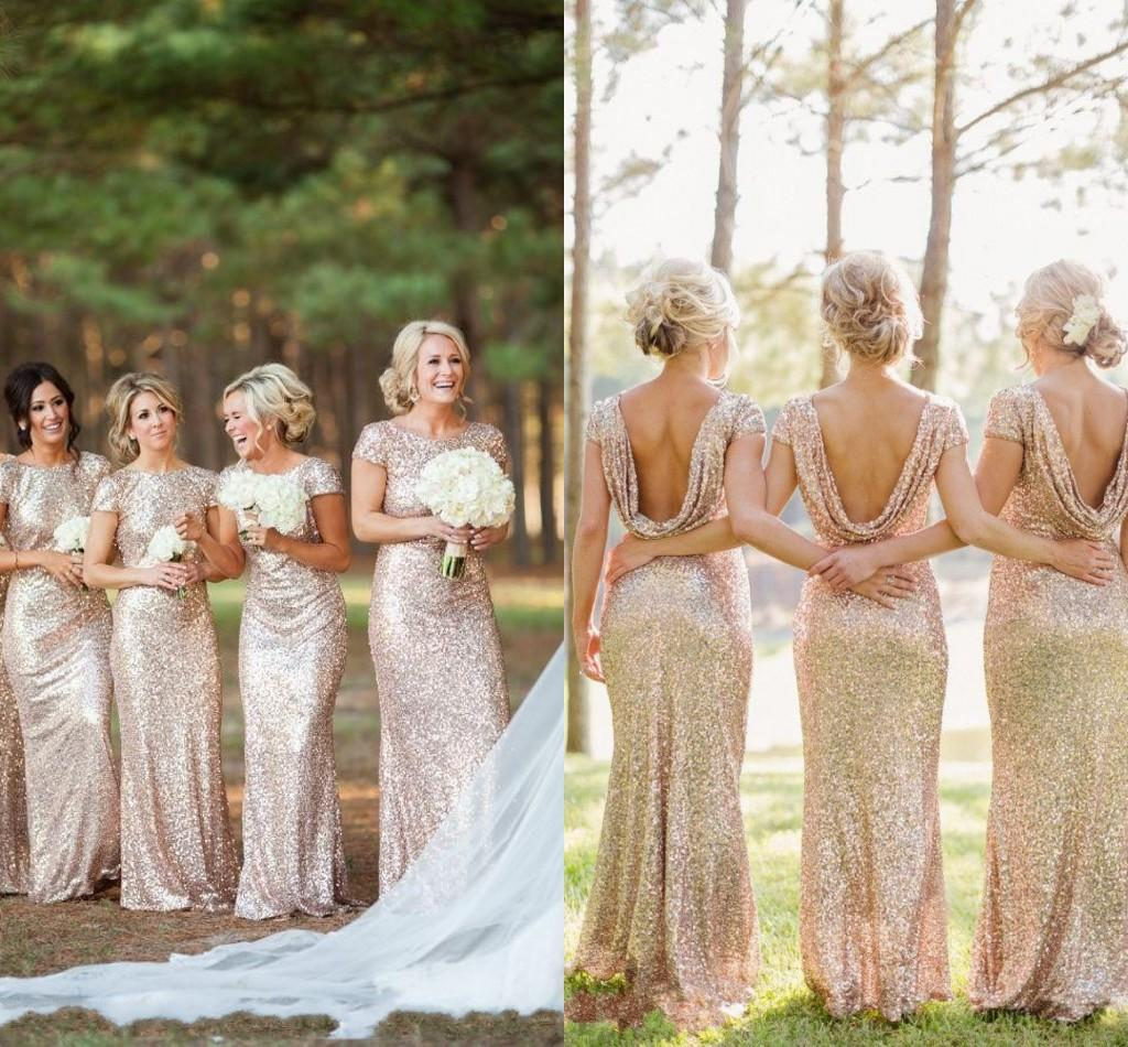 Shiny sequin bridesmaid dresses 2015 sheath scoop short sleeves u see larger image ombrellifo Gallery