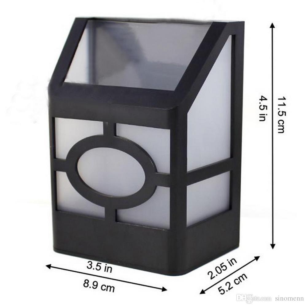 Luce ad alta potenza esterna 0.2W 2 LED Luce calda Lanterna solare Lampada da recinzione Lampada da parete solare
