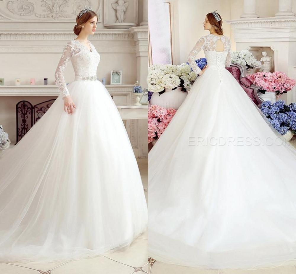 2015 Designer Wedding Gowns: 2015 Winter Long Sleeve Wedding Dresses Ball Gown V Neck
