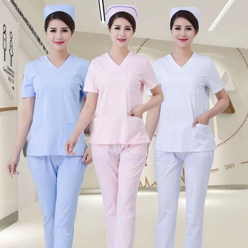 a0d9348cb26 2019 Women Short Sleeve Work Uniforms V Neck Scrub Sets Eautician Top And  Pants / Dental Nursing Work Coat From Tll13525777503, $16.77 | DHgate.Com