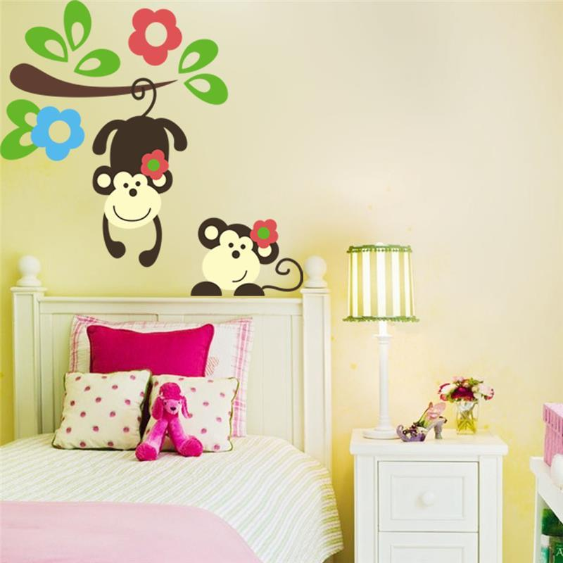 Kids Bedroom Tree kawaii monkey hang tree wall stickers kids bedroom decoration 1202