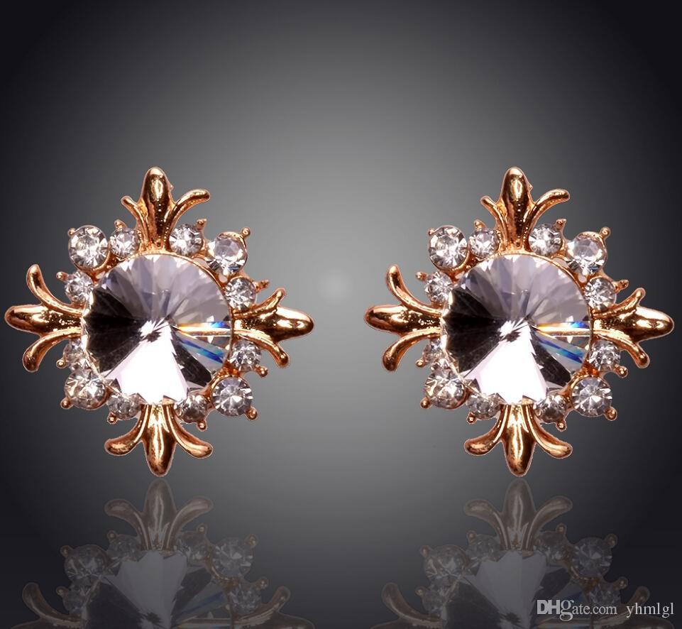 Yeni Retro Vintage Çiçek Şekli 18K altın kaplama Avusturya Kristal Küpe İçin Kadınlar Moda Takı Yap Toptan