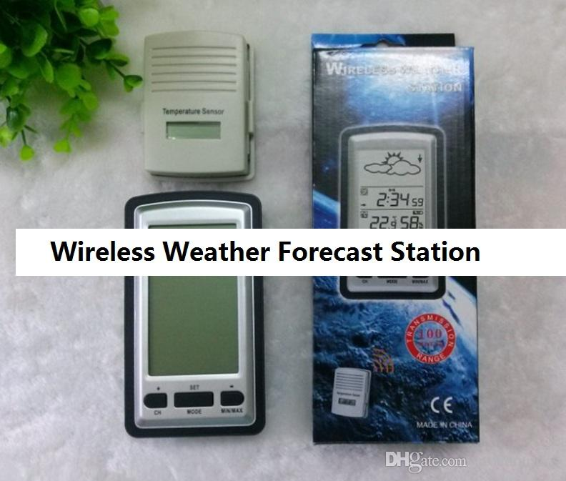 High quality Wireless Weather Station Barometer Clock Wireless Sensor Temperature Alarm With Retail Box