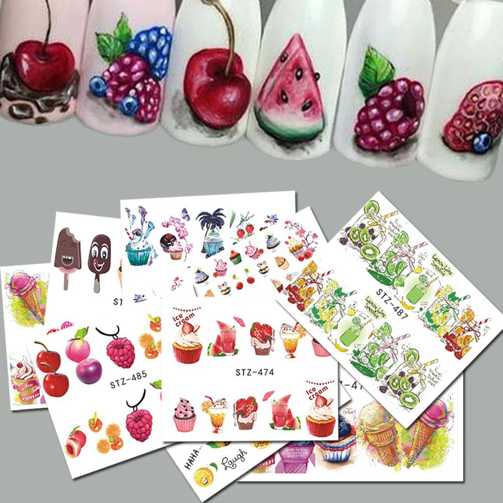 Sweets Ice Cream Summer Nail Sticker Mixed Colorful Fruit Diy Water ...