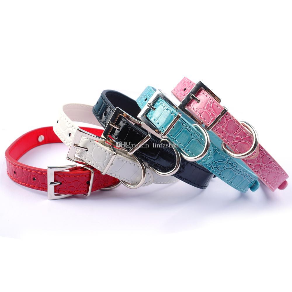 completas colores personalizados collares de perro de DIY para mascotas Customed barato Gatro piel collares de perro M L S