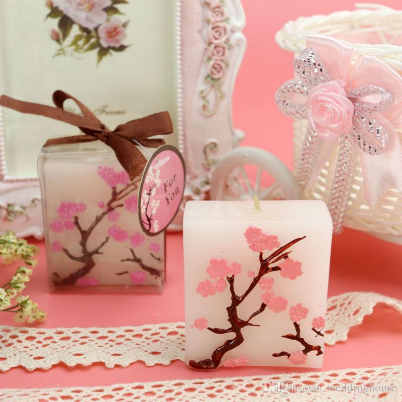 FEIS En Gros Multicolore Romantique Fleur De Cerisier Carré Faveurs De Mariage Et Cadeaux D'anniversaire Bougie Cire Décor À La Maison Décoratif Sans Fumée Bougie Créative