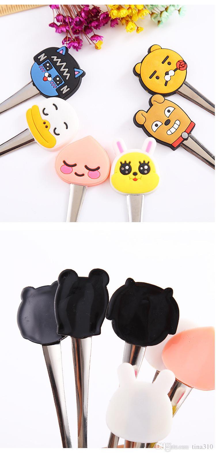 Nuova vendita calda in acciaio inox stoviglie di fumetto a forma di animale bambini cucchiaio da minestra caffè mescolando cucchiaio IA952