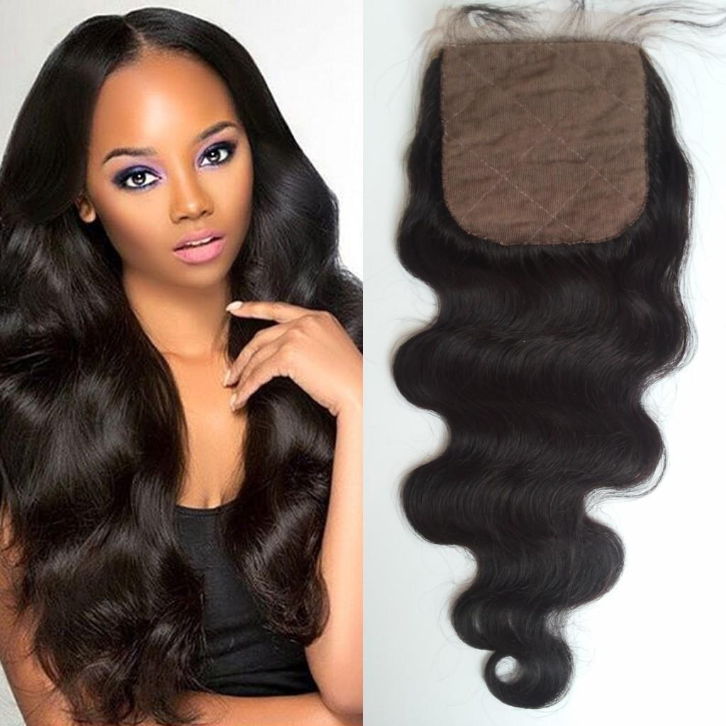 Silk Base Closure 4*4inch Free Part Middle Part 3 Way Part Hidden Knots G-EASY Hair Natural Color Body Wave Peruvian Virgin Human Hair