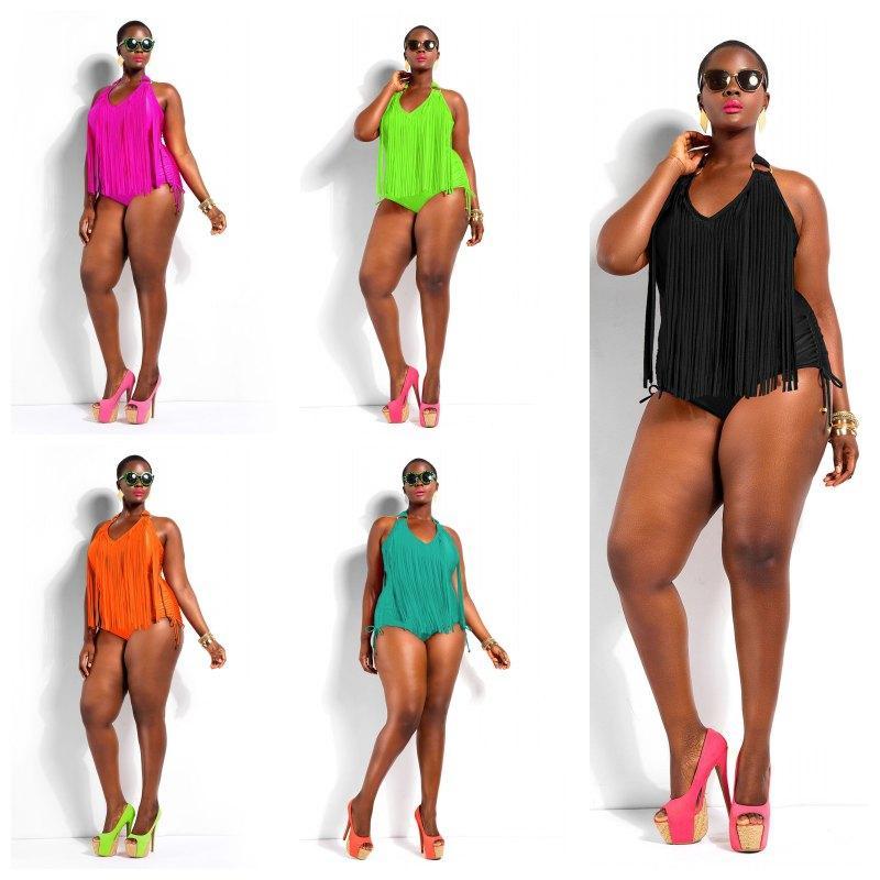 b889942a096 2019 Plus Size Swimwear Women Sexy One Piece Swimsuit Fringe ST. TROPEZ  Bikini Halter Bathing Suit Padded Monokini SW300 From Yangze, $20.46 |  DHgate.Com