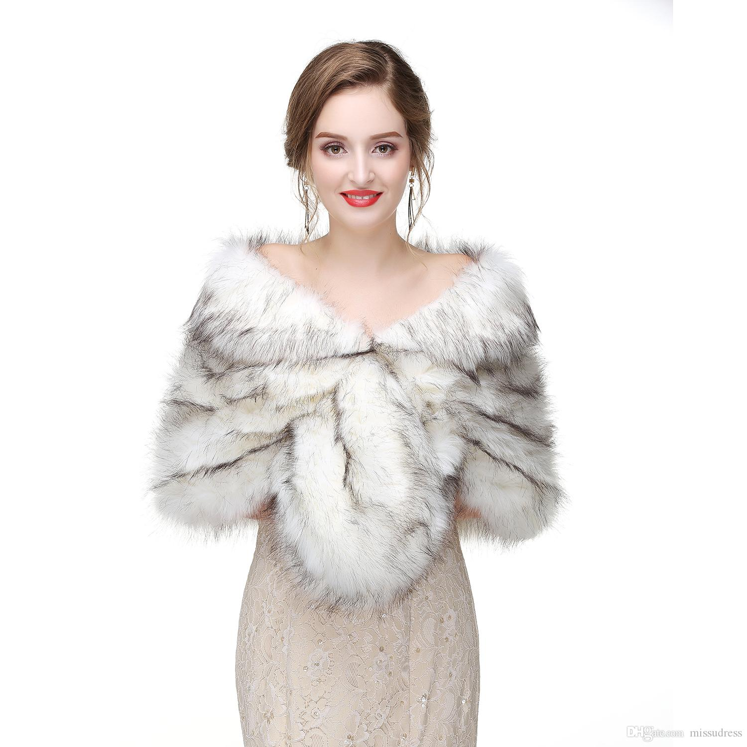38c1d7263d5 2019 2017 Bridal Wraps Bolero Faux Fur For Wedding Evening Party Prom  Jacket Coat Winter White Fur Shawl Wedding From Missudress