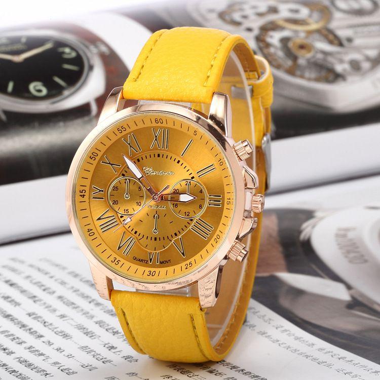 2017 Unisex Luxury Watches Geneva Silicone Roman Numerals Watch leather Bracelet Quartz Watch Fashion Mens Women Sports Cystal Watches