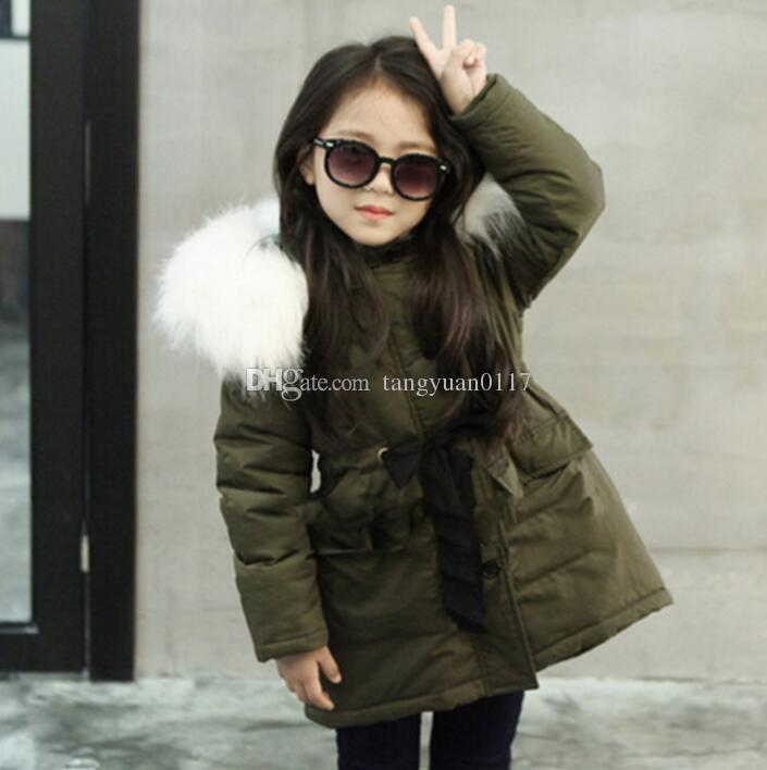 05008a713 2017 New Children Winter Jackets for Girls Army Green Plus Velvet ...