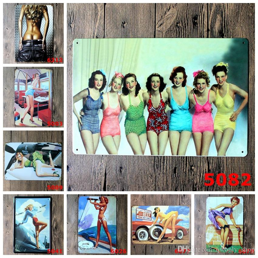 Vintage Sexy Lady With Plane Wall signs decor Bar Metal Painting Art 20*30 CM
