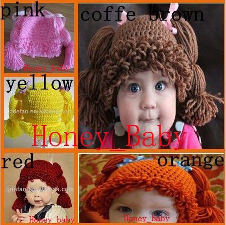 Crochet Baby Girls Wigs Cabbage Patch Hat Newborn Infant Toddler