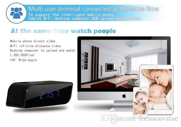 Mini IP kamera P2P Ağ Wifi Saat DVR HD 720 P Gece Görüş Hareket Algılama Geniş açılı görünüm 160 derece Mini DV siyah