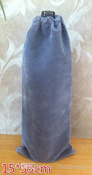 Бесплатная EMS DHL 100 шт. 15*35 см серый бархат бутылки вина сумки ювелирные изделия сумки свадьба конфеты Рождественский подарок сумки Selfie Stick мешок