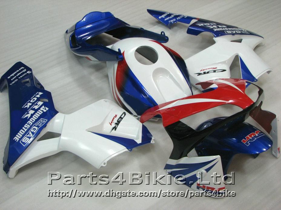 Kit de carrocería HRC 100% Fit para carenados de Honda CBR600RR 2003 2006 Kit de carenado blanco de inyección CBR 600 RR CBR 600RR 03 04 WJUX