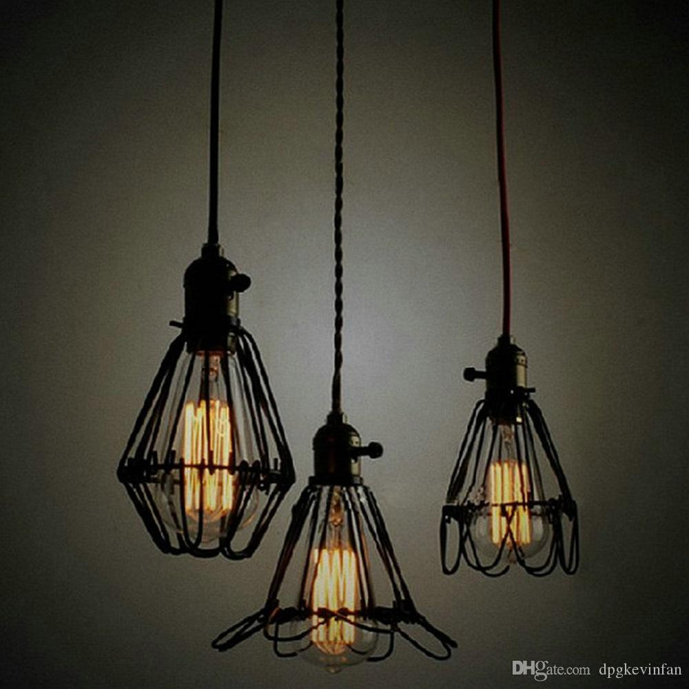 Pendant lights Vintage American country style Iron Chandelier 1metre length E27 Hotel lamps study living room lights modern chandelie