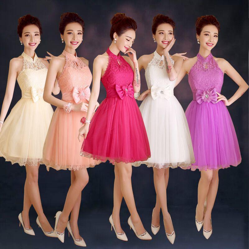 Short Paragraph Toast Clothing Red Bridal Halter Wedding Dress Show ...