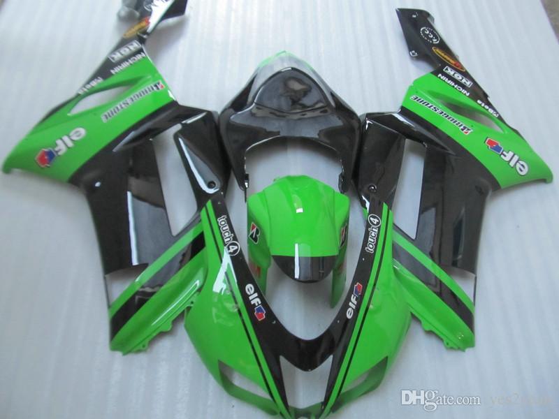 KAWASAKI Ninja ZX6R için motosiklet Fairing parçaları 07 08 ZX 6R 636 2007 2008 Kaporta ZX-6R Yeşil siyah Marangozluk seti + hediyeler
