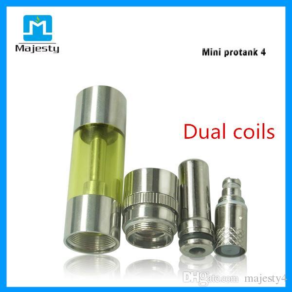 2015 Majesty Clearomizer Pure Taste Dual Coils Pyrex Glass Mini Protank 4 Bottom Dual Coil BDC Clearomizer 1.6ml