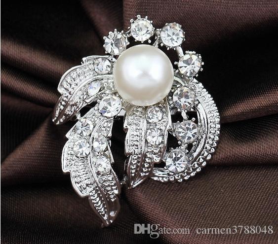 Hochzeitsrhinestone Broschenart und weise brautperle Broschen splitter-überzogene Kristalldiamant-Blumenstifte 2015 neues freies Verschiffen