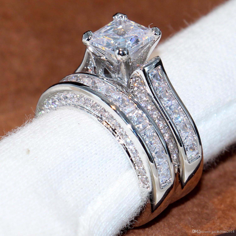 Victoira Wieck Bijoux Vintage 14KT or blanc Rempli taille princesse carrée Topaze CZ diamant L'engagement des femmes anneau de mariage nuptiale Ensemble-cadeau
