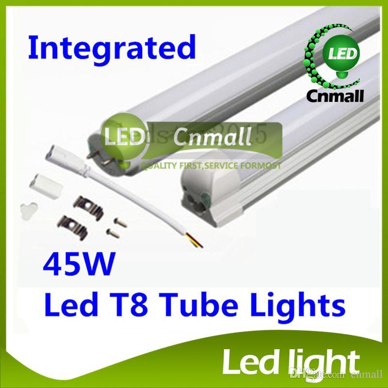 T8 LED Tube Light Base Integrated LED Tube 45W 2.4m 8ft LED Fluorescent Tube SMD2835 4500LM Led Lights AC85-265V CE FCC ETL SAA UL LED Tubes